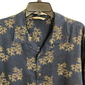 Tommy Bahama Blue Hawaiian Shirt XL 100% Linen